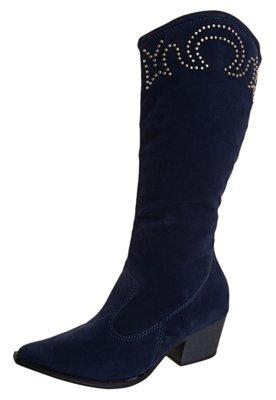 Bota Cowboy Longa Cravos Azul - Crysalis