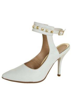 Sapato Scarpin Zatz Traseiro Aberto Tira Pirâmides Branco