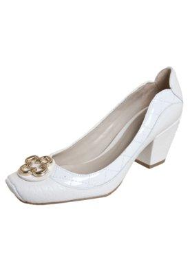 Sapato Scarpin Capodarte Salto Médio Grosso Branco