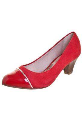 Sapato Scarpin Beira Rio Salto Baixo Biqueira Vermelho
