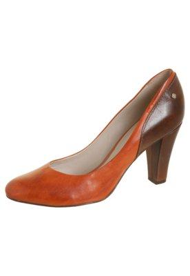 Sapato Scarpin Capodarte Alto Grosso Bicolor Marrom