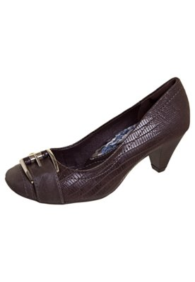 Sapato Scarpin Bico Quadrado Fivela Marrom - Dakota