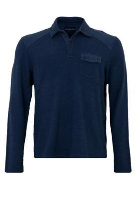 Camisa Polo Calvin Klein Jeans Recorte Azul
