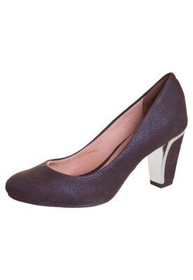 Sapato Scarpin Vizzano Salto Metalizado Marrom