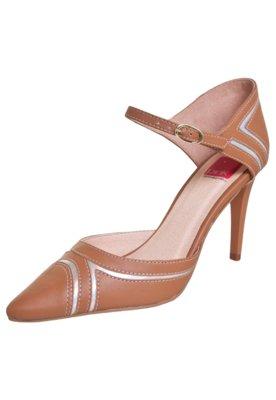Sapato Scarpin Pink Connection Zig Zag Caramelo