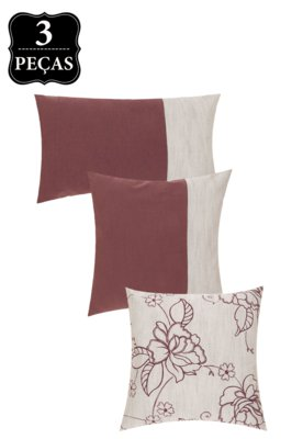 Kit Capa de Almofada B-On Shantung 3 Peças Floral/Vinho/Cin...