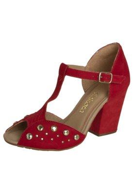Sandália Dakota Salto Grosso Salomé Tachas Vermelho