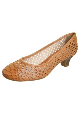 Sapato Scarpin Bottero Vazado Salto Baixo Caramelo