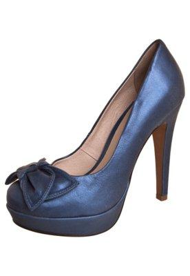 Sapato Scarpin Bottero Salto Alto 1/2 Pata e Laço Azul