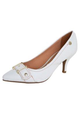 Sapato Scarpin Vizzano Salto Médio Fivela Branco