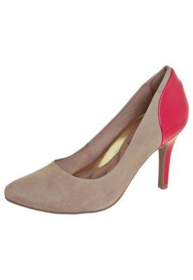 Sapato Scarpin Ramarim Bicolor Bege