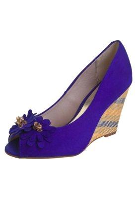 Sapato Scarpin Beira Rio Peep Toe Anabela Flores Azul