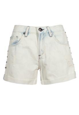 Bermuda Jeans Espaço Fashion Lateral Tachas Off-White