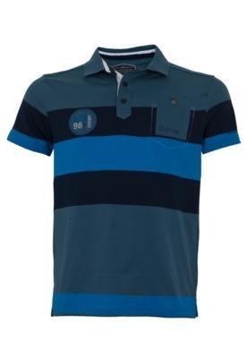 Camisa Polo Gangster Bordado Azul