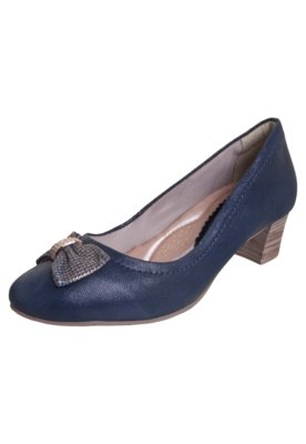 Sapato Scarpin Comfortflex Salto Médio Laço Strass Azul