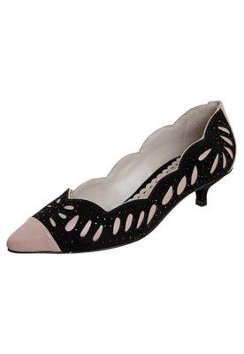 Sapato Scarpin Tatiana Loureiro Vazados Nude/Preto