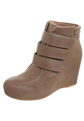 Ankle Boot  Anabela Velcro Bege - AZALEIA