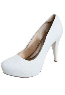 Sapato Scarpin Di Cristalli Salto Grosso Tubarão Branco