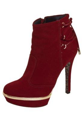 Ankle Boot Crysalis Meia Pata Amarração Traseira Vermelha