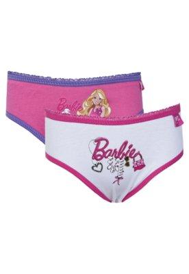 Kit 2 Calcinhas Barbie Tanga Charm Rosa/Branco