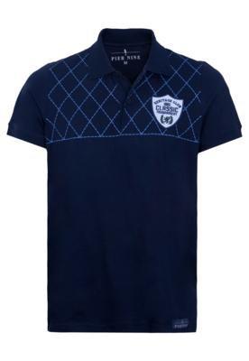 Camisa Polo Pier Nine Bordado Azul