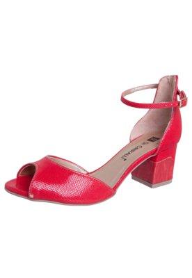 Sandália Di Cristalli Salto Baixo Pulseira Vermelha