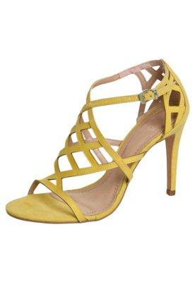 Sandália My Shoes Tiras Salto Fino Amarela