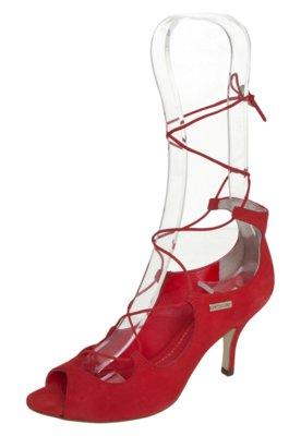 Sandália Dumond Amarração Salto Baixo Vermelha