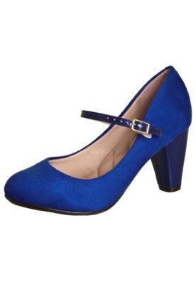 Sapato Scarpin Moleca Boneca Salto Verniz Azul