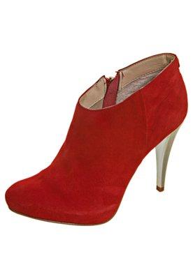 Ankle Boot Camurça Pelica Cabra Salto Metalizado Vermelha -...