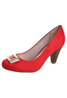 Sapato Scarpin Beira Rio Salto Alto Ferragem Vermelho