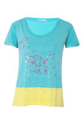 Blusa Cantão Silk Alfabeto Azul