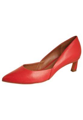 Sapato Scarpin Carrano Salto Baixo Recorte Vermelho