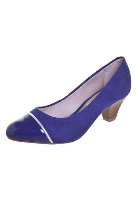Sapato Scarpin Beira Rio Salto Baixo Biqueira Azul