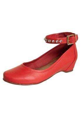 Sapato Scarpin Dayflex Anabela Embutida Pulseira Strass Verm...