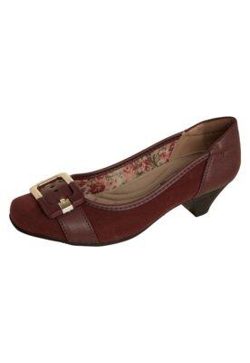 Sapato Scarpin Anna Flynn Fivela Vinho