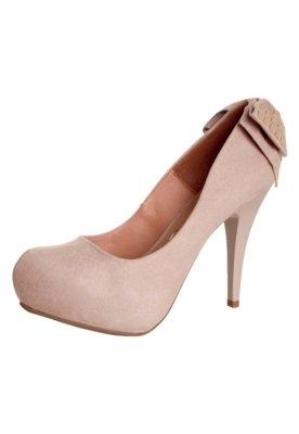 Sapato Scarpin Vizzano 1/2 Pata Embutida Laço Traseiro Bege