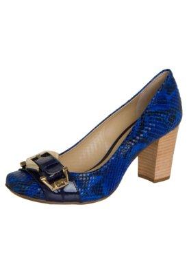 Sapato Scarpin Jorge Bischoff Salto Grosso Fivela Azul
