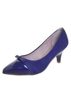 Sapato Scarpin Beira Rio Salto Baixo Laço e Biqueira Azul