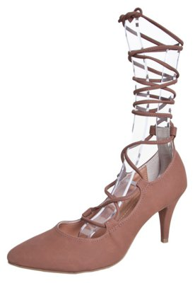 Sapato Scarpin Crysalis Bico Fino Amarração Marrom