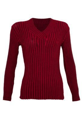 Blusa Mercatto Decote V Canelado Vermelha