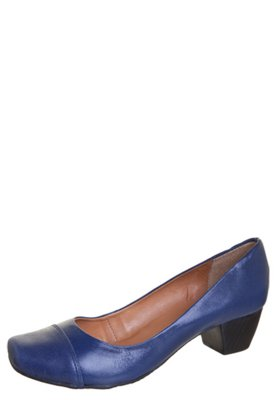 Sapato Scarpin Raphaella Booz Bico Quadrado Basic Azul