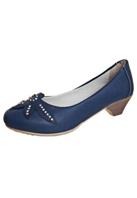 Sapato Scarpin Anna Flynn Flor Strass Azul