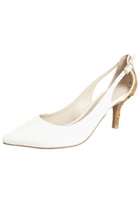 Sapato Scarpin Capodarte Salto Médio Trabalhado Branco