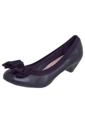 Sapato Scarpin  Moleca Salto Baixo Laço Camurça Preto