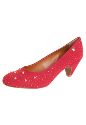 Sapato Scarpin Salto Baixo Hotfix SPikes Rosa - Loucos e San...