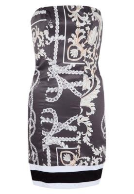 Vestido Lança Perfume Faixas Cinza