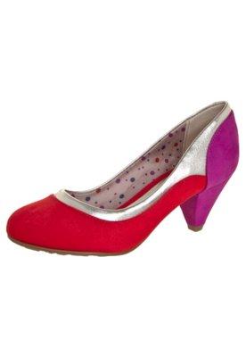 Sapato Scarpin Beira Rio Detalhe Metalizado Bege/Caramelo