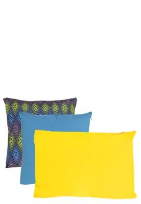 Kit Capa Almofada B-On Losango 3 peças Azul/Amarelo