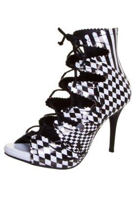 Ankle Boot Di Cristalli Amarração Preta e Branca